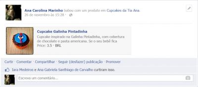 Portal Cupcakes da Tia Ana - Ação customizada no Facebook.