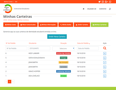 Área exclusiva do consumidor no portal. Projeto Central dos Estudantes. Dados fictícios.